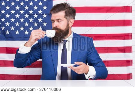 Choose Liberty. Politician Drink Coffee. Bearded Businessman Patriotic For Usa. Happy National Holid