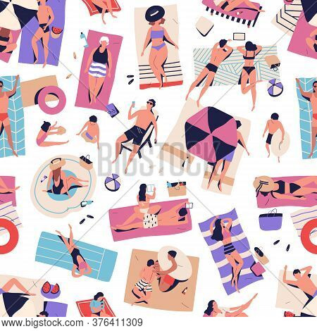 Crowd Of Relaxed People Chilling On Beach Seamless Pattern. Man, Woman, Couple And Children Relaxing