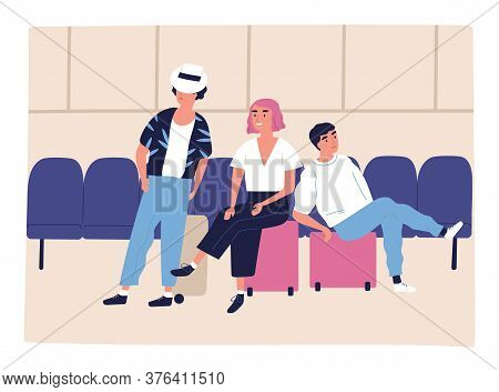 Tourist Family Sitting On Suitcases At Waiting Hall Vector Flat Illustration. Mother, Father And Son