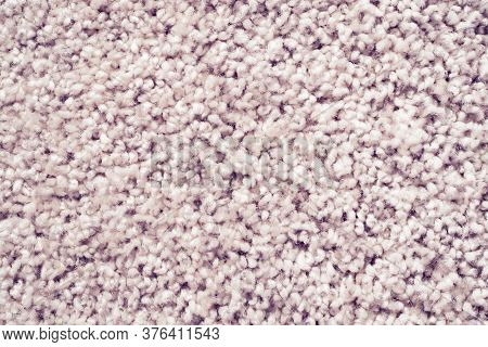Close Up Detail Of Absorbent Fabric Or Shaggy White Carpet, Hairy Carpet Detail. Absorbent Fabric Ba