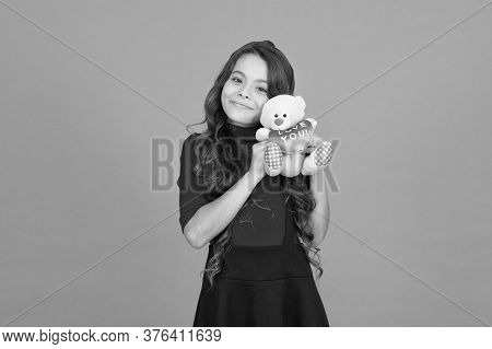 Happy Childhood. Lovely Small Girl Smiling Happy Face Hold Toy. Imaginary Friend. Little Girl Play W