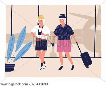 Elderly Couple Tourist Going On Terminal At Airport Vector Flat Illustration. Man And Woman Carry Su