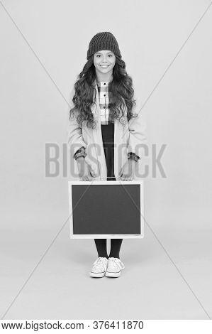 Small Girl Enjoy Autumn. Stylish Schoolgirl Blackboard. Copy Space For Ad. Space For Creativity. Bac