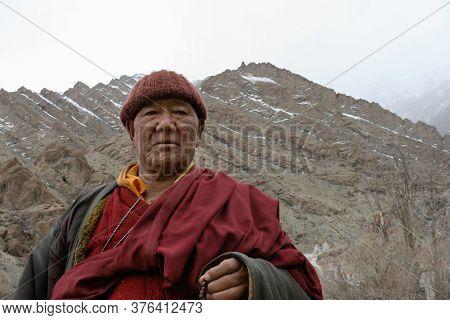 Ladakh, Leh, India - August 12, 2020 : Portrait Of Tibetan Buddhist Monk (lama) In Lamayuru Monaster