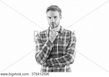 Checkered Shirt Always In Trend. Handsome Man With Bristle On White Background. Portrait Attractive