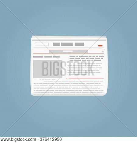 Newspaper Template. Folded Newspaper With Blank Picture Abstract Text. Red Lines And Grey Text. Brea