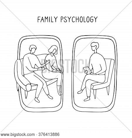 Family Psychologist. Online Counseling For Couple. Patients At Psychological Consultation. Linear Do