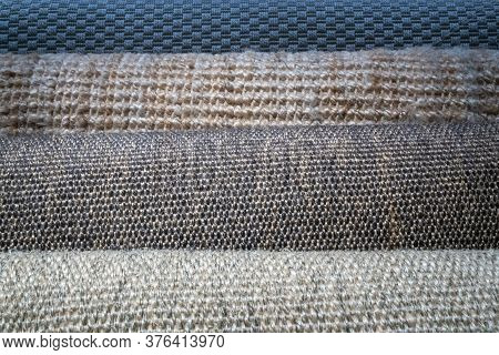 Variety Of Carpet Roll Display At The Showroom In Home Department At Department Store. Object And In