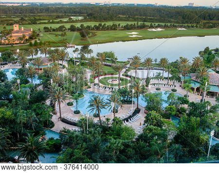 Orlando, Florida, Usa - May 20, 2007: Aerial View To Aqua Park Of Jw Marriott Orlando Hotel And Larg