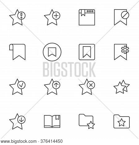 Bookmark Line Icons Set, Outline Vector Symbol Collection, Linear Style Pictogram Pack. Signs, Logo