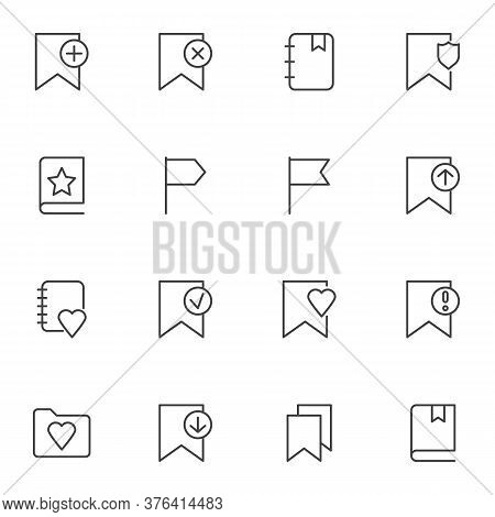 Flag Bookmark Line Icons Set, Outline Vector Symbol Collection, Linear Style Pictogram Pack. Signs,