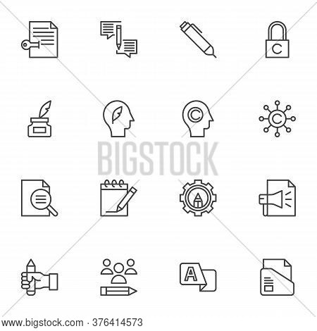Copywriting Related Line Icons Set, Outline Vector Symbol Collection, Linear Style Pictogram Pack. S