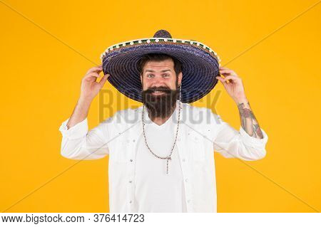 Mexican Party Concept. Travel To Mexico. Celebrate Traditional Mexican Holiday. Fest And Holiday Sal