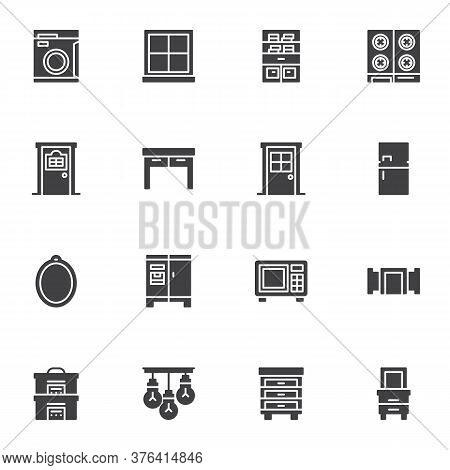 Household Furniture Vector Icons Set, Modern Solid Symbol Collection, Filled Style Pictogram Pack. S