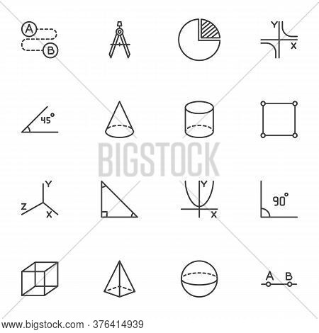 Geometry Shapes Line Icons Set, Algebra And Geometry Outline Vector Symbol Collection, Linear Style