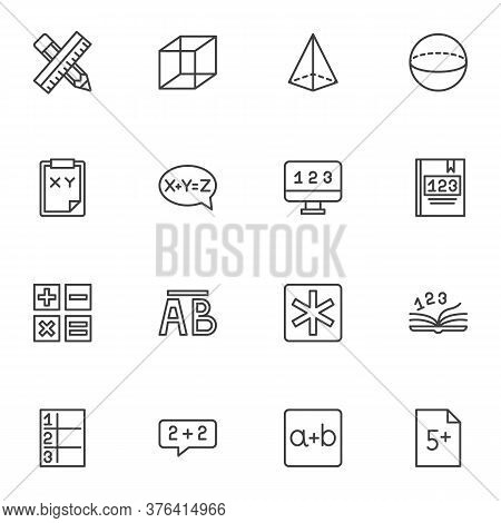 Math And Algebra Line Icons Set, Outline Vector Symbol Collection, Linear Style Pictogram Pack. Sign