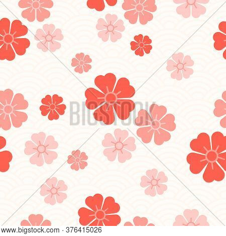 Seamless Pattern Of Pink Sakura Flowers On The Background Of Asian Ornaments. Abstract Chinese Backg