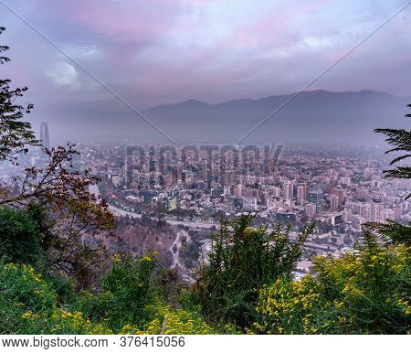 Santiago De Chile Downtown Misty Dusk With Andes
