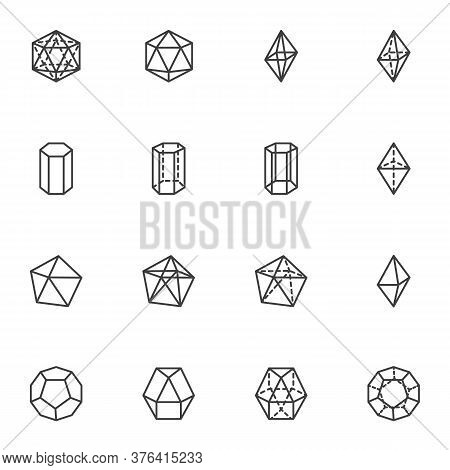 Geometric Shapes Line Icons Set, Algebra And Math Outline Vector Symbol Collection, Linear Style Pic
