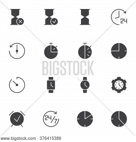Clock Time Vector Icons Set, Modern Solid Symbol Collection, Filled Style Pictogram Pack. Signs, Log