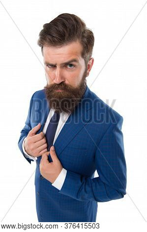 Timeless Tweed Suit. Handsome Hipster Expensive Clothes White Background. Menswear Concept. Fashion