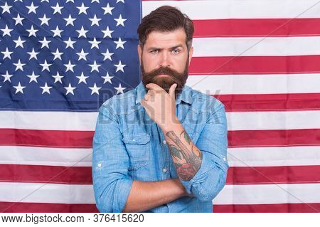 Independence Day Public Holiday. 4 Of July Independence Day. Bearded Man Celebrate Freedom. Patrioti