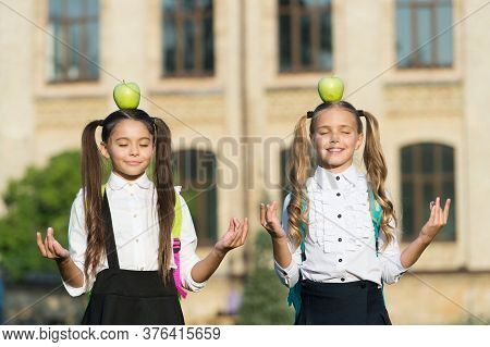Mudra To Calm Your Anxious Mind. Happy Children Keep Hands In Mudra. Little Girl Meditate With Apple