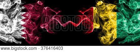 Qatar Vs Guinea, Guinean Smoky Mystic Flags Placed Side By Side. Thick Colored Silky Abstract Smoke