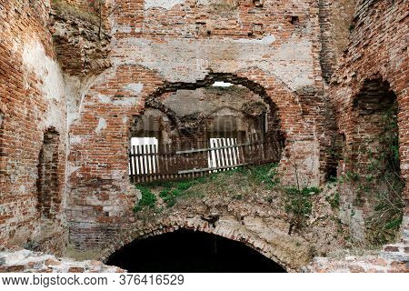 Ruined Walls Of Ruzhany Palace, Ruined Building Of Sapieha In Village, Pruzhany District, Brest Prov