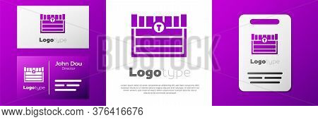 Logotype Antique Treasure Chest Icon Isolated On White Background. Vintage Wooden Chest With Golden