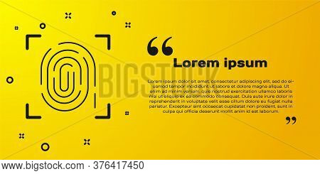 Black Fingerprint Icon Isolated On Yellow Background. Id App Icon. Identification Sign. Touch Id. Ve