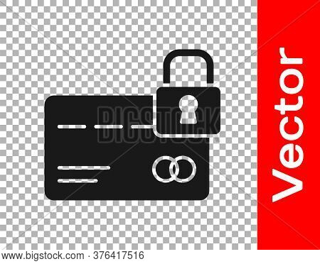 Black Credit Card With Lock Icon Isolated On Transparent Background. Locked Bank Card. Security, Saf