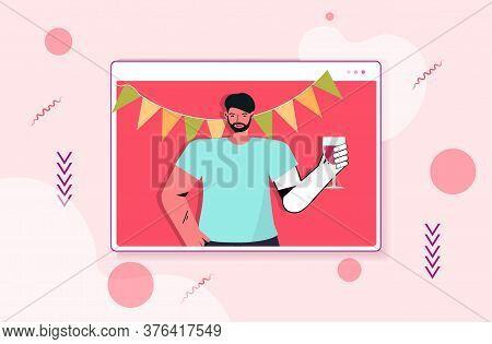 Man In Festive Hat Celebrating Online Birthday Party Guy In Computer Window Drinking Wine Celebratio