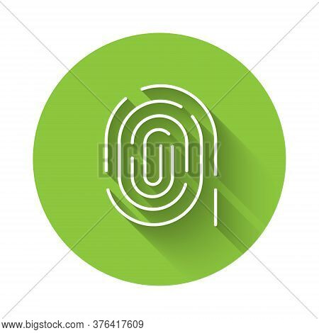 White Fingerprint Icon Isolated With Long Shadow. Id App Icon. Identification Sign. Touch Id. Green