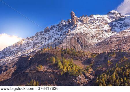 Switzerland, Panoramic View Of Swiss Alps Snow Mountain Peaks, Ski Resort, Bernese Oberland