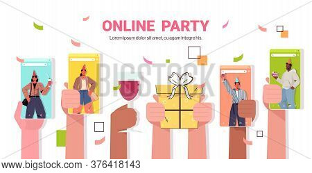 Mix Race People In Smartphone Screens Celebrating Online Birthday Party During Video Call Celebratio