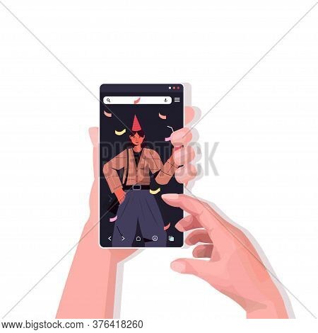 Hands Using Smartphone Celebrating Online Birthday Party During Video Call Celebration Self Isolatio