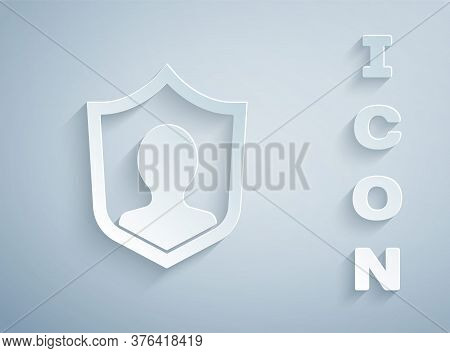 Paper Cut User Protection Icon Isolated On Grey Background. Secure User Login, Password Protected, P