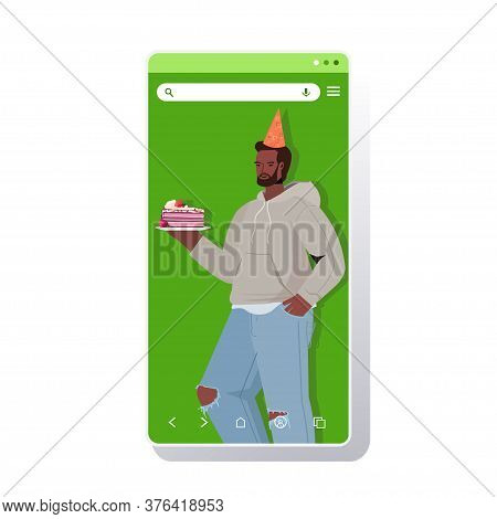 Man In Festive Hat Celebrating Online Birthday Party African American Guy In Smartphone Screen Holdi