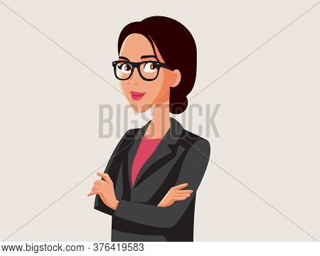 Powerful Woman Wearing Eyeglasses And Business Suit