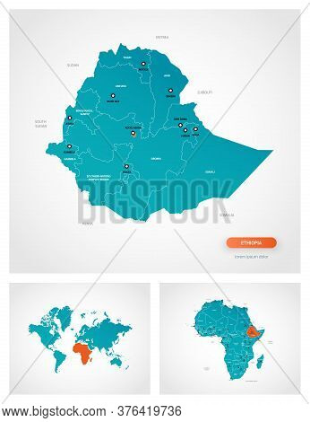 Editable Template Of Map Of Ethiopia With Marks. Ethiopia On World Map And On Africa Map.