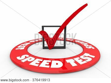 Speed Test Check Mark Box Evaluate Performance Success 3d Illustration