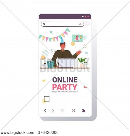 Man In Festive Hat Celebrating Online Birthday Party During Video Call Celebration Virtual Meeting C