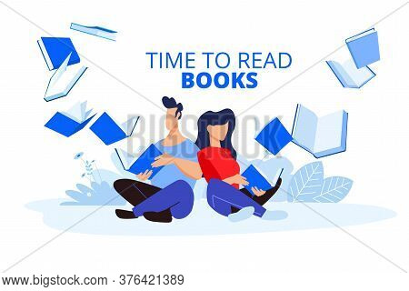 Time To Read Books. Vector Illustrations Of A Man And A Woman Read Books. Concepts For Graphic And W