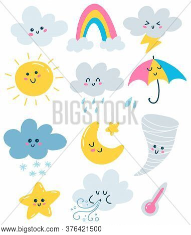 Flat Vector Weather Illustrations Set In Primitive Style Isolated On White Background. Clouds, Sun,