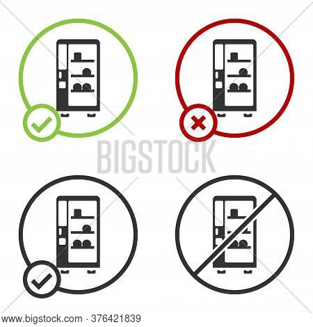 Black Vending Machine Of Food And Beverage Automatic Selling Icon Isolated On White Background. Circ