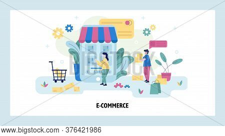 Woman Buy Product Online Usoing Her Mobile Phone. Ecommerce Concept Illustration. Online Shop. Vecto