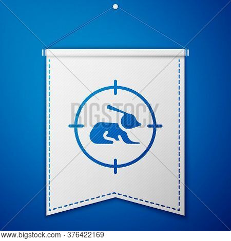 Blue Hunt On Rabbit With Crosshairs Icon Isolated On Blue Background. Hunting Club Logo With Rabbit
