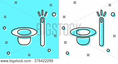 Black Line Magic Hat And Wand Icon Isolated On Green And White Background. Magic Trick. Mystery Ente