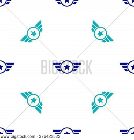 Blue Star American Military Icon Isolated Seamless Pattern On White Background. Military Badges. Arm